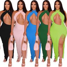 Solid open neck elastic dress