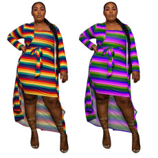 Two piece long sleeve Cape wrapped skirt