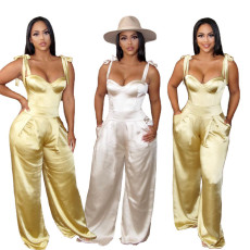 Wide leg Satin Jumpsuit with drawstring