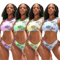 Two piece swimsuit set with fashion print