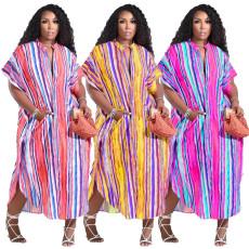Fashion print loose pocket single breasted dress