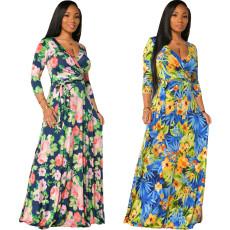 Fashion print V-neck dress