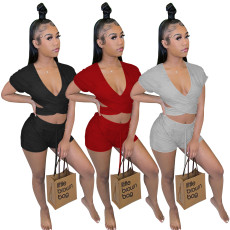 Two piece solid color hollowed out leisure set