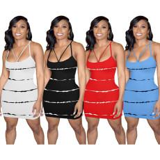 Casual striped print hip strap dress