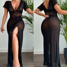 Sexy open back dress with sexy lingerie