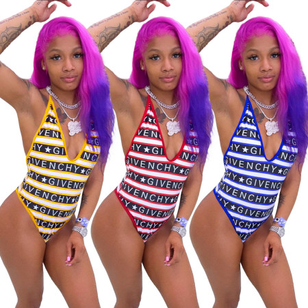 Fashion letter print sexy one-piece swimsuit