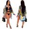 Printed Sexy Bikini Swimsuit + coat