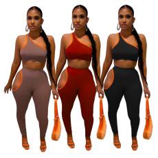 Fashion one shoulder strap off shoulder two piece set
