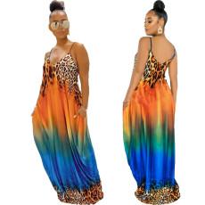 Print loose strap dress long skirt