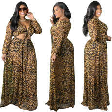 Leopard lace up long sleeve half skirt two piece set