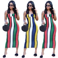Sexy stripe casual suspender dress
