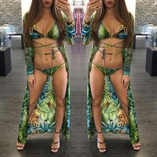 Three piece printed beach Cape swimsuit