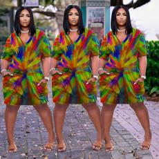 Fashion rainbow tie dye print loose dress