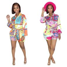 Two piece printed shirt and Shorts Set