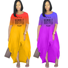 Fashion gradient printing split dress