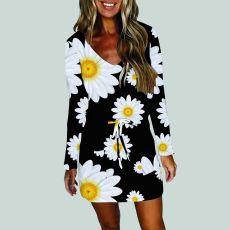 Fashion digital printing waist strap dress