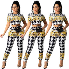 Gold Print short sleeve pants two piece set