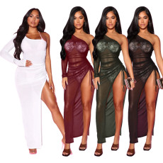 Slim nightclub Long Sleeve Dress