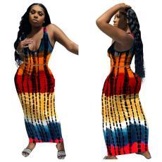 Two piece U-neck VEST TIE DYE Printed Dress