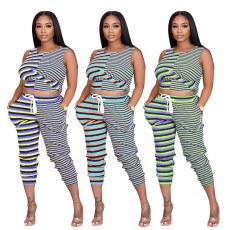 Fashion casual stripe printing suit