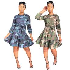 Long sleeve camouflage print A-line skirt