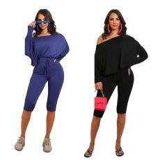 Slant shoulder fashion two piece set