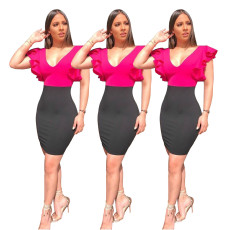 Fashion stitching Ruffle Dress