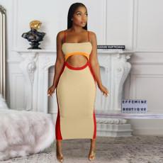 Strap cut-out stitching sexy dress