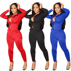 Two piece solid shirt set