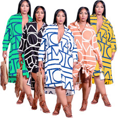 Lapel long sleeve shirt dress with irregular print