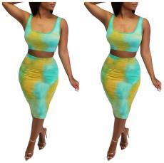 Tie dye print casual dress
