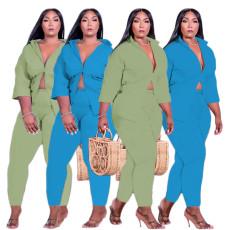 Solid color suit shirt two piece set
