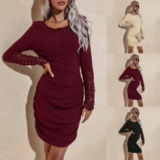 Round neck long sleeve slim dress
