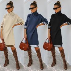 High collar long sleeve knitted dress