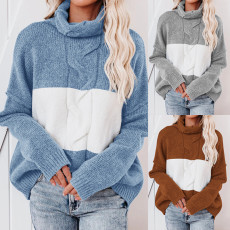 Fashionable and loose high neck knitted sweater