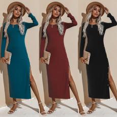 Fashion solid long sleeve dress