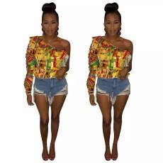 One shoulder lace T-shirt