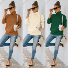 Fashion high neck loose long sleeve sweater