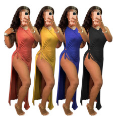 High waist cut out cross fashion sleeveless dress