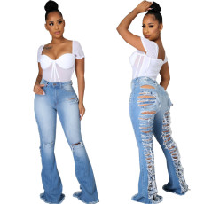 Sexy and fashionable elastic flared pants with holes
