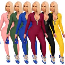 Fashion solid color zipper Jumpsuit