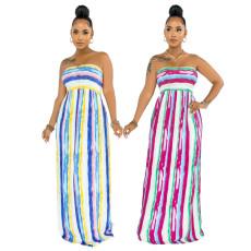 Striped print sexy strapless dress
