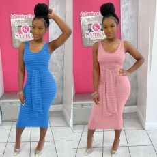 Fashion print sleeveless dress