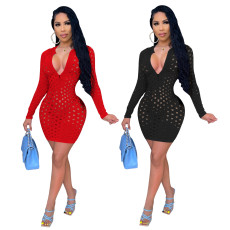 Solid sexy hollow out long sleeve dress