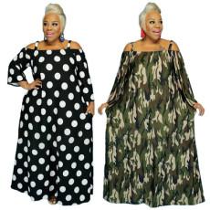Dot camouflage print drawstring one shoulder dress