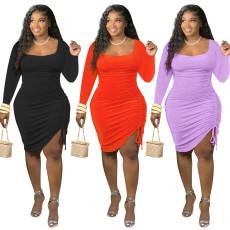 One side pleated slim dress