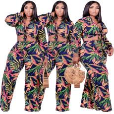 Fashion print two piece wide leg set