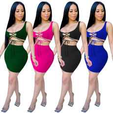 Two piece short skirt with tight bandage