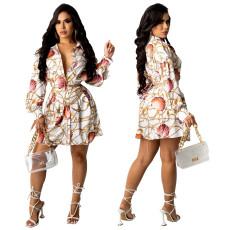 Printed long sleeve shirt dress