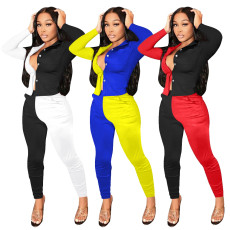 Casual fashion color matching suit